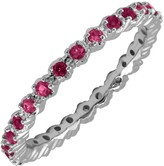 Simply Stacks Sterling Prong-Set Simulated Ruby Stack Ring