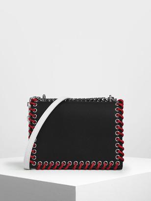 Charles & Keith Grommet Accented Crossbody Bag