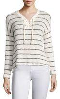 Sundry Stripe Print Lace-Up Sweater