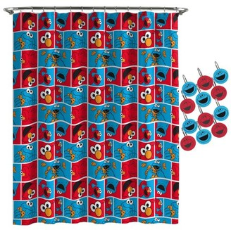 Sesame Street Elmo Cookie Squares Shower Curtain and Hooks Set