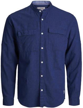 Jack and Jones Men High Summer Long Sleeved Mandarin Collar Shirt