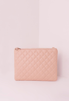 Missguided Quilted Zip Top Clutch Bag Nude