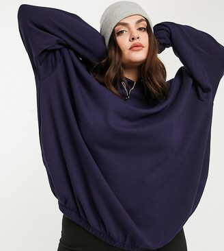 ASOS DESIGN Curve mix & match super oversized cocoon hoodie co-ord with side pockets in navy