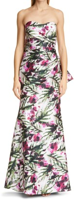 Badgley Mischka Floral Print Bow Back Strapless Mermaid Gown