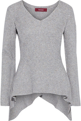 Sies Marjan Grace Asymmetric Melange Ribbed-knit Sweater