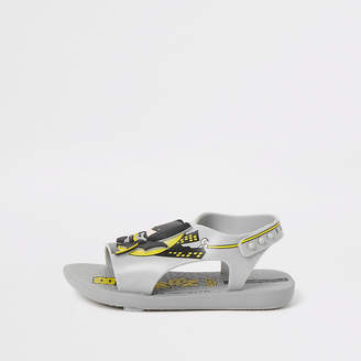 River Island Mini boys Ipanema grey Batman sliders