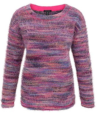 Tribal Long Sleeve Drop Shoulder Top (Hot Pink) Women's Clothing