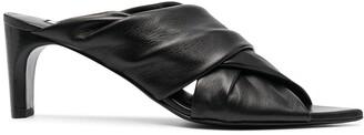 Jil Sander Ruched Crossover Strap Sandals