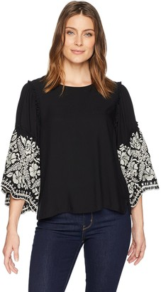 Karen Kane Women's Embroidered Sleeve TOP