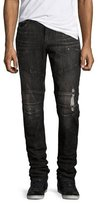 True Religion Rocco Distressed Simple Moto Jeans, Black