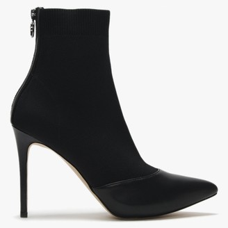 Michael Kors Vicky Black Leather & Knit Sock Ankle Boots