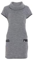Dorothy Perkins Womens *Quiz Grey And Black Knit Zip Shift Dress, Grey