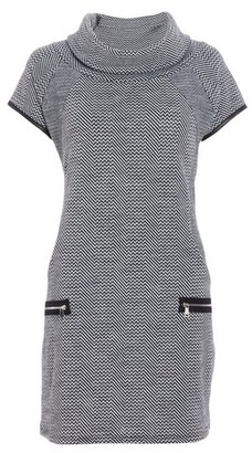 Dorothy Perkins Womens Quiz Grey And Black Knit Zip Shift Dress, Grey
