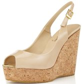 Nancy Jayjii Leather Shoes for Women Peep Toe T-straps Cork Wedge Sandals with Platform 6