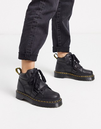 Dr. Martens Zuma II with buckle strap flat ankle boots in black