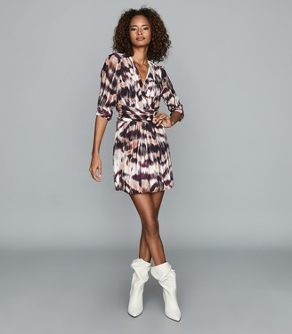 Reiss ORLA IKAT PRINTED MINI DRESS Berry