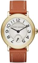 Marc Jacobs Women's Riley Gold-Tone & Leather Three-Hand Watch, 36mm