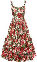 Dolce & Gabbana Rose Print Poplin Bustier Dress