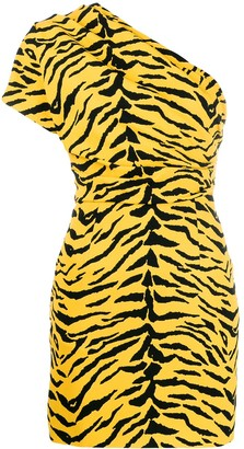 Saint Laurent Animal Print Asymmetrical Dress