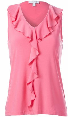 Nine West Women's Sleeveless V-Neck Ruffle Front Knit TOP