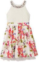 Speechless Embellished High-Neck Floral-Print Dress, Big Girls (7-16)
