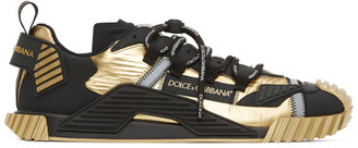 Dolce & Gabbana Gold and Black NS1 Sneakers