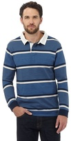 Maine New England Big And Tall Blue Highlight Striped Rugby Shirt
