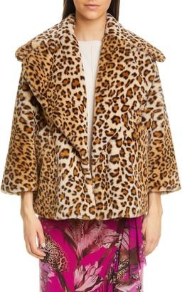 Fuzzi Leopard Print Crop Faux Fur Jacket