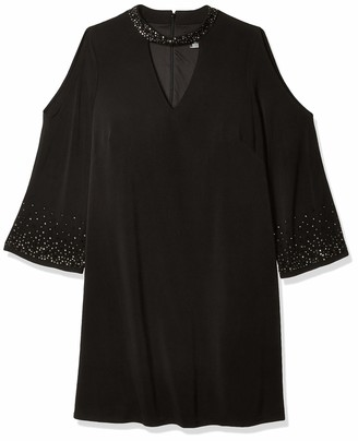 Jessica Howard JessicaHoward Women's Plus Size Bell Sleeve Stand Collar Dress