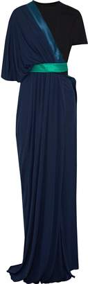 Vionnet Color-block Layered Stretch-georgette Gown