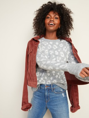 Old Navy Cozy Leopard-Print Crew-Neck Sweater for Women