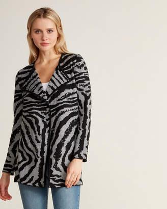 Andrea Jovine Long Sleeve Zebra Jacquard Cardigan