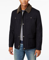 Kenneth Cole Men's Peacoat with Faux-Sherpa Collar