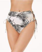 MinkPink Isla Palm High-Waist Strappy Cheeky Bikini Bottoms
