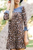 Wanna B Leopard Chambray Dress