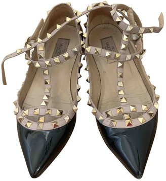 Valentino Rockstud Black Patent leather Ballet flats