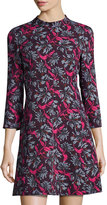Rebecca Taylor Floral Mock-Neck A-Line Dress, Purple