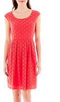 Ronni Nicole Cap-Sleeve Circle Stretch Lace Fit-and-Flare Dress