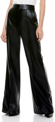 Alice + Olivia Dylan Faux-Leather High-Waist Wide-Leg Pants