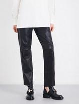 Yang Li Ladies Black Cropped Concealed zip Straight Leather Pants