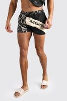 boohoo Mens Black MAN International Baroque Print Spliced Swim Shorts, Black