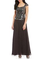 J Kara Sequin Bodice Long A-Line Chiffon Gown