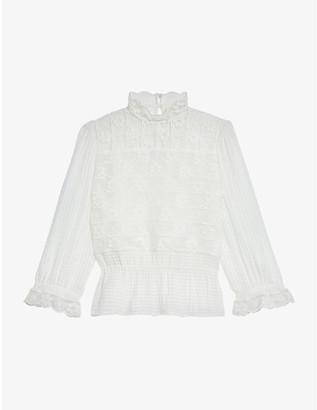 Sandro Sarah peplum-hem floral-lace blouse