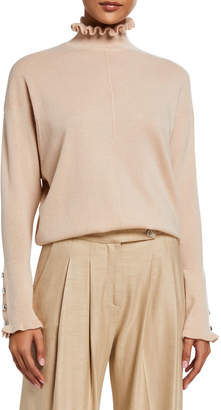 Chloé Cashmere Frill High-Neck Sweater