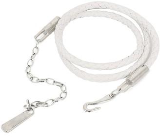 sourcingmap Metallic Hook Closure Skinny Weave Waist Belt Waistband White for Lady