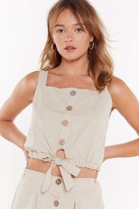 Nasty Gal Womens Nice Tie Button-Down Tie Crop Top - Beige - 12, Beige