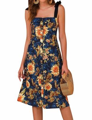 YNALIY Women Vintage Sunflower Front Button Dress Sleeveless A-line Floral Party Knee Length Dress Vocation Dress Beach Party Boho Mini Dress