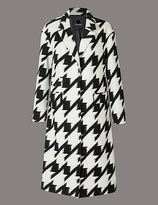 Autograph Wool Blend Dogtooth Print Coat