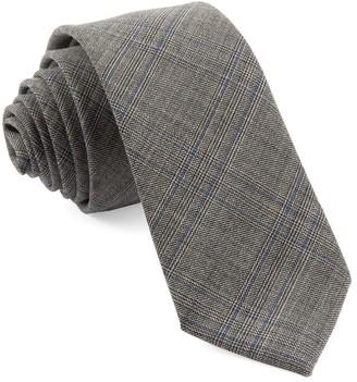 Tie Bar Cord Plaid Grey Tie