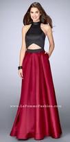 La Femme Halter Triangular Cut A-line Mikado Prom Dress